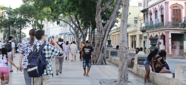Paseo de Martí, pedestrian boulevard in Centro Havana 4 blocks from our home